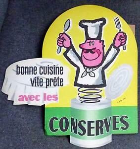 Plv carton publicitaire pour les conserves dessin de sin ann e 60 ebay - Dessin annee 60 ...