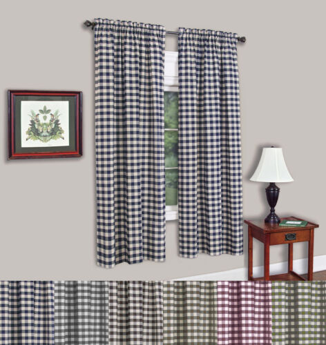 Buffalo Check Gingham Single Window Panel – 42″ x 63″ – 7 Colors Curtains & Drapes