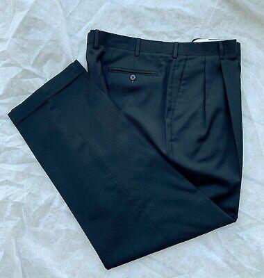 $350 Zanella Bennett Black *Italian Wool* pleated dress pants ~ mens 40 x -