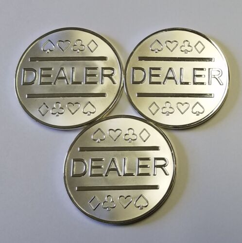 3x Silver Plated Metal Dealer Buttons in Case for Poker Games like Texas Hold