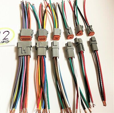 12 Awg Gray Assembled Deutsch One Of 23 46812 Pin Waterproof 6 Wire