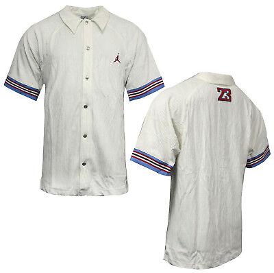 Nike Jordan Corduroy Collared Buttoned Baseball Shirt Off White 188858 100 M14