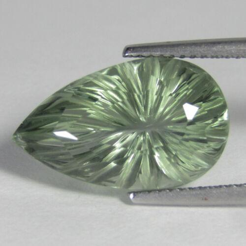 8.91Cts Natural Gorgeous Green Amethyst (Prasiolite) Pear Carving Loose Gem VDO