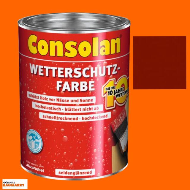 Consolan Wetterschutzfarbe schwedenrot 2,5 Liter Holzschutz Schutzfarbe Schutz
