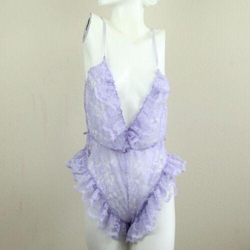 Vintage 70s 80s Val Mode Purple Lace Teddy Lingerie Negligee Petite XS Bodysuit