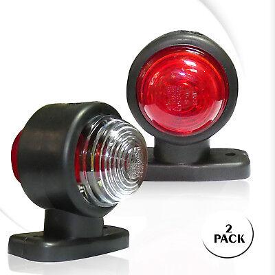 2X LED Lichtleittechnik Begrenzungsleuchten rot-wei/ß Umrissleuchte LKW TRAILER Anh/änger E-mark 12V 0207