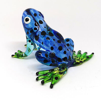 Glass Blue Frog Figurine Zoo Craft Lampwork Collectible Miniature Hand Blown (Zoo Craft)
