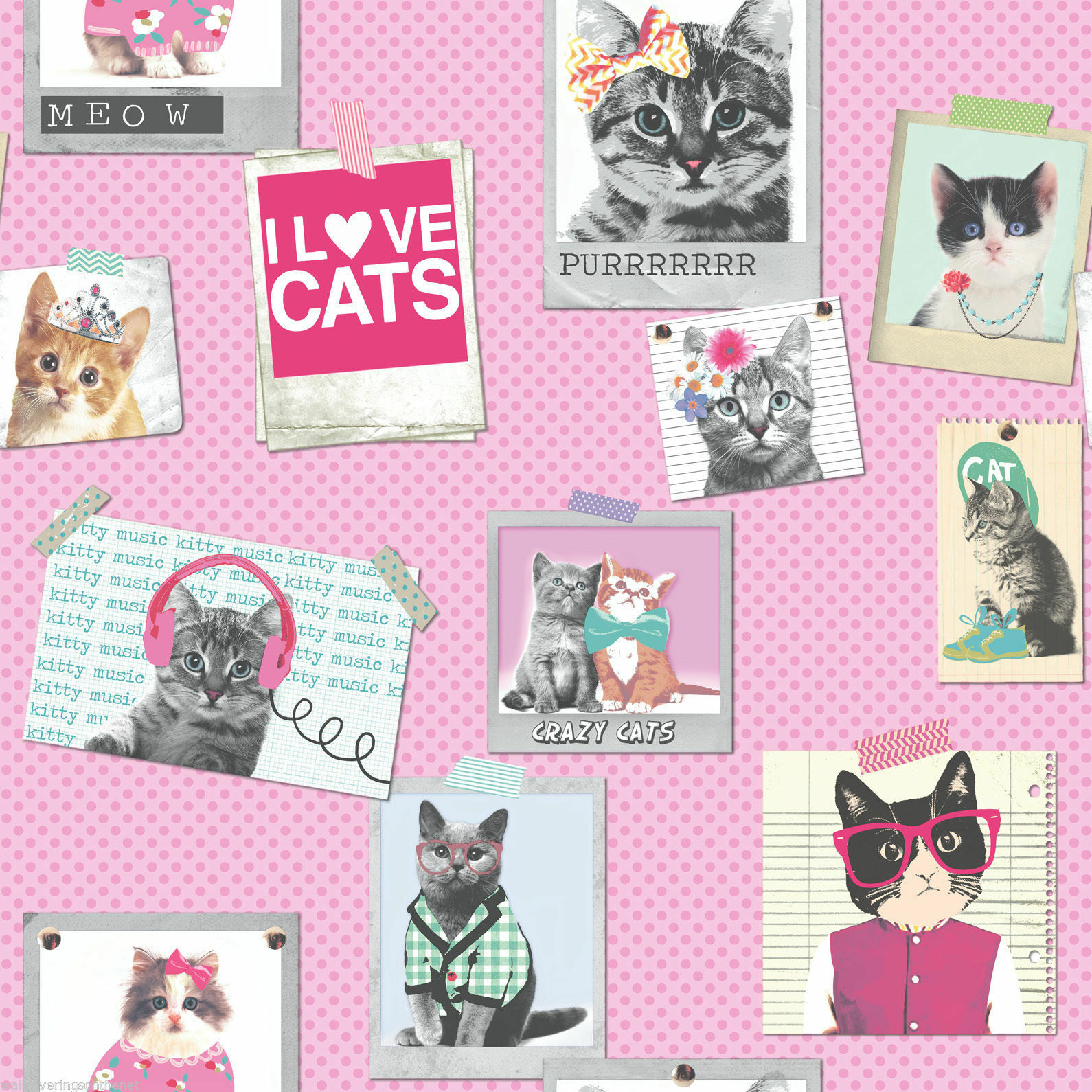Neu Rasch Pink Kühl Katzen in Rahmen Luxus Tapete Rosa Punktmuster ...