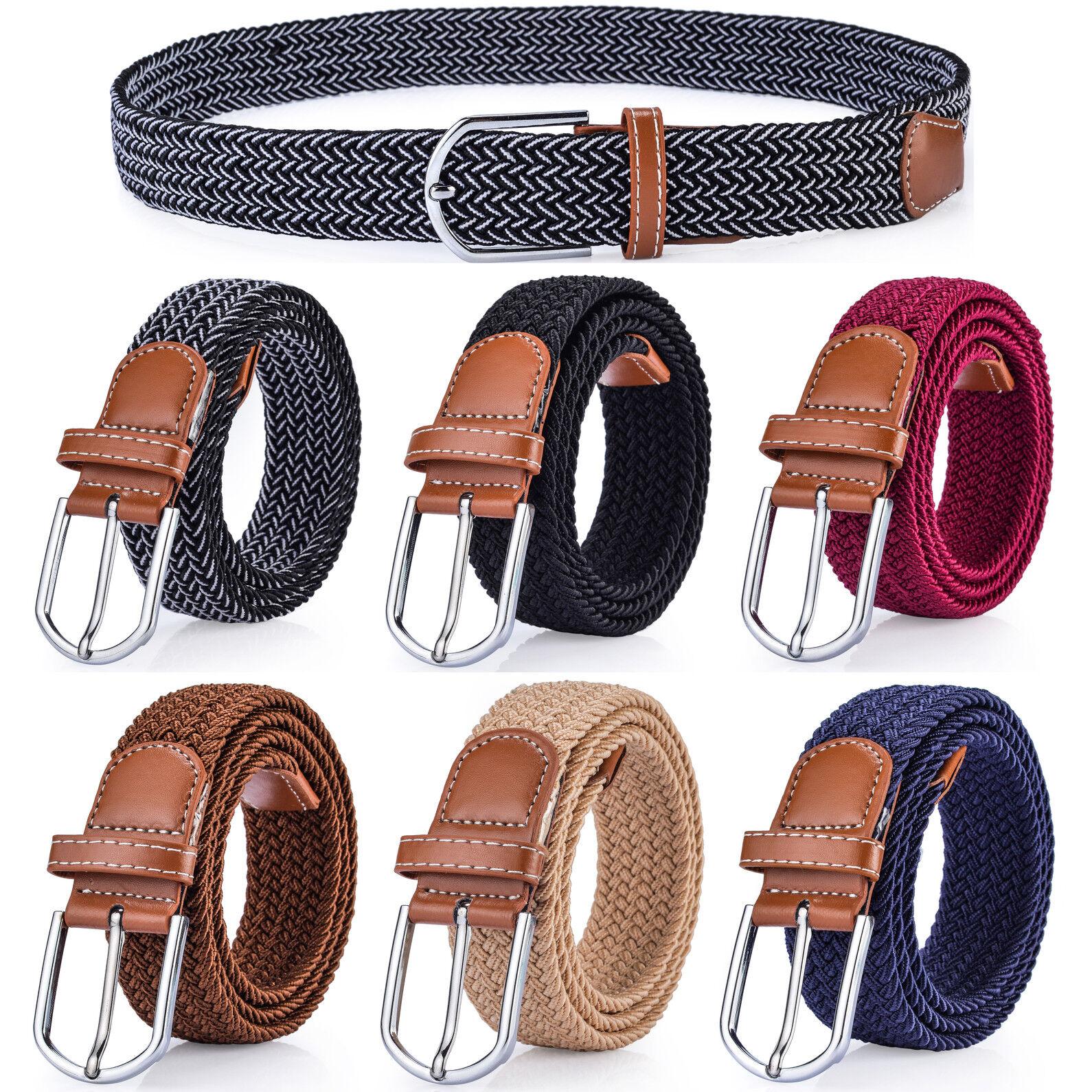 Women's Casual Belt, Braided Polyester Elastic Stretch Belt Belts