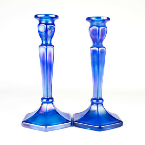 """Northwood Colonial Blue Iris Carnival Stretch Candlestick Set, Antique 695 8.5"""""""