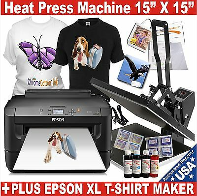 EPSON WF-XL PRINTER ++ HEAT PRESS TRANSFER T-SHIRT MAKER COMPLETE START KIT