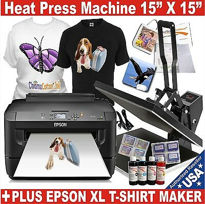 DIGITAL HEAT PRESS 15X15 TRANSFER MACHINE T-SHIRT MAKER STARTER + PRINTER EPSON