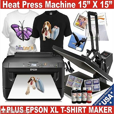 Heat Press Transfer T--Shirt Sublimation Machine + EPSON XL Printer Starter