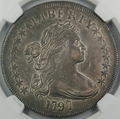 1797 DRAPED BUST SILVER DOLLAR $1, NGC XF-45, HIGH END EXAMPLE