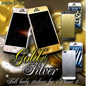 Brushed-Matal-GOLD-SILVER-CARBON-FULL-BODY-Vinyl-Sticker-Skin-for-iPhone-4-4S-5
