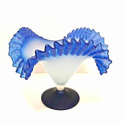 Frosted Glass Vase Ruffled Top Cobalt Blue Base Rim Vintage Hand Blown 8.25 in