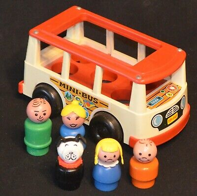 VINTAGE 1970's FISHER PRICE #141 MINI BUS COMPLETE W/WOOD LITTLE PEOPLE FAMILY