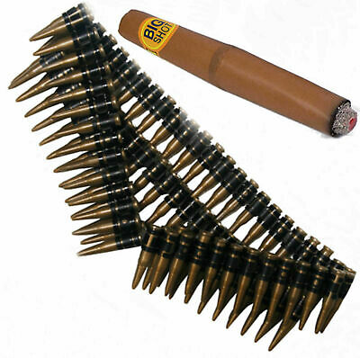 Bullet Belt & Cigar 1980s Army Soldier Terminator Mexican Fancy Dress - Terminator Fancy Dress Kostüm
