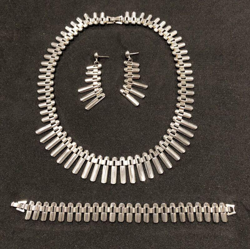 Vintage Sterling Silver 925 MId Century Modern Necklace Earrings Bracelet Set