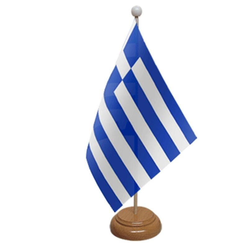 "GREECE TABLE FLAG 9""X6"" WITH WOODEN BASE FLAGS GREEK"
