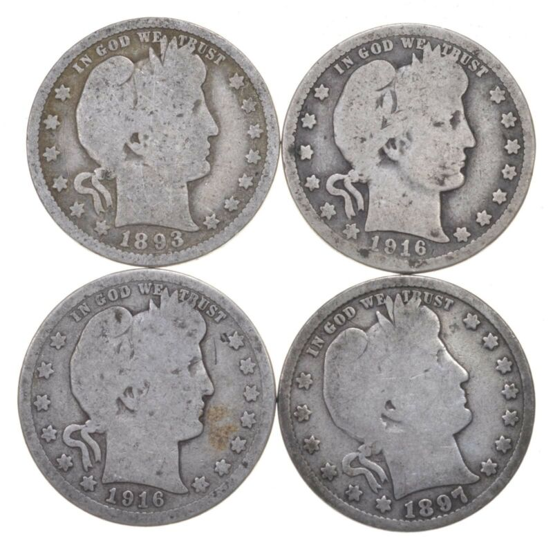 Lot 40 1892-1916 Barber Liberty Head Quarters $1 90% Silver Collection Roll $10