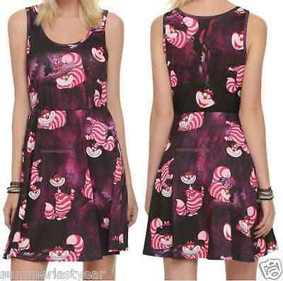 Cheshire Cat Juniors Fit   Flare Dress Disney Alice In Wonderland Free Ship