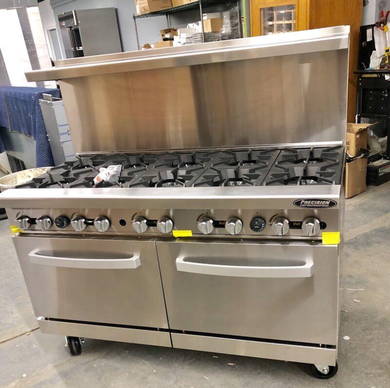 "New 10 Burner Range Heavy Duty 60"" Commercial Restaurant Stove Gas Double Oven"
