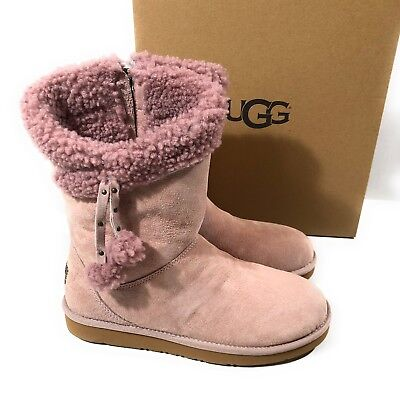 UGG PLUMDALE CUFF POM POM DUSK SUEDE SHORT BOOTS US 8 for sale  West Palm Beach