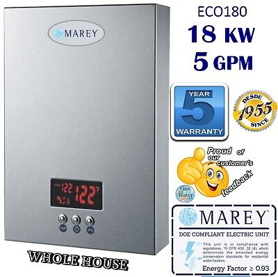 Eco180 Electric Tankless 5Gpm Water Heater Instant 18 Kw 220V Whole House Marey