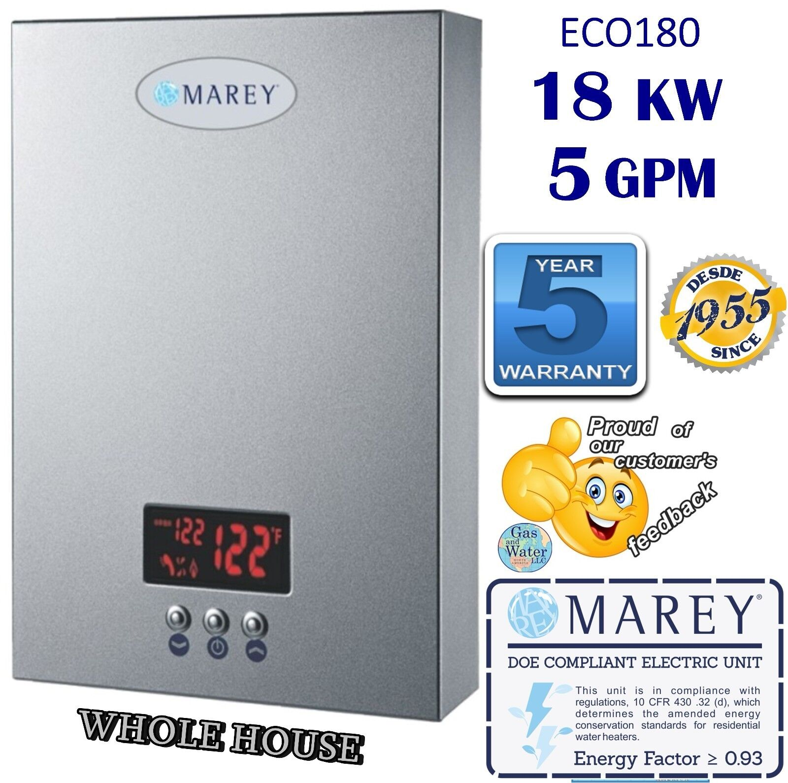 Marey 5 GPM 220V Electric Tankless Instant Water Heater 18KW
