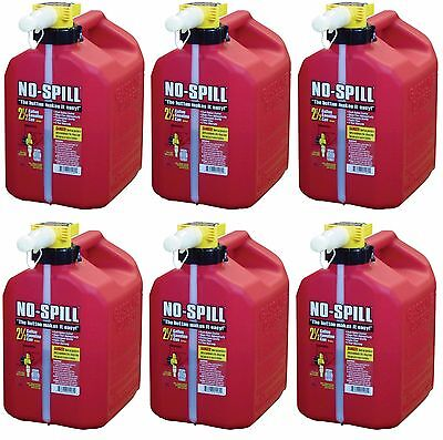 Lot Of 6 No-spill 1405 2-12-gallon Poly Gas Can Carb Compliant Red 2.5 Gal