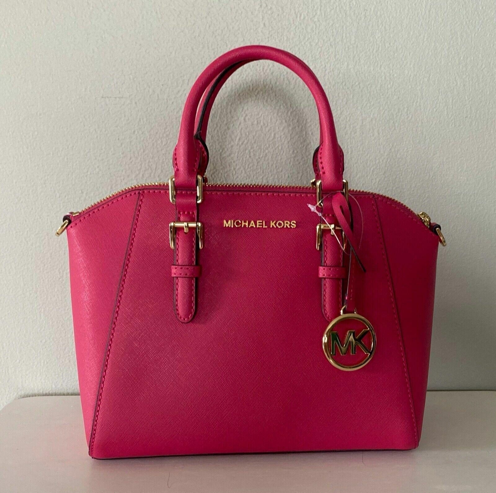 Michael Kors Ciara Electric Pink Leather Medium Messenger Sa