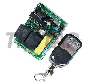 230V-2-Canales-433Mhz-Radio-Receptor-Interruptor-Puerta-garaje-Emisor-manual