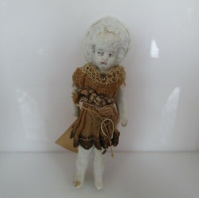 "Vintage German Bisque Jointed Arms  4 1/2 "" Dressed Doll # 160"