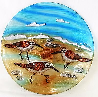 "Sandpiper Scene Art Glass Hand Painted 8 "" Plate Home Decor"