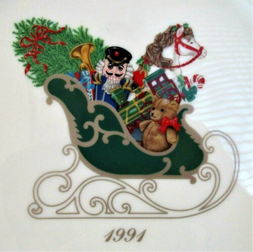"""Lenox 1991 The Annual Holiday Collector Plate 11"""" Sleigh Toys First In Series"""