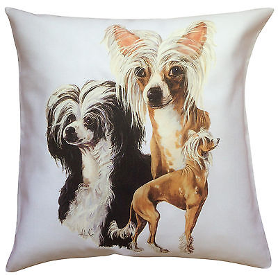 Chinese Crested Group Breed of Dog Cotton Cushion Cover - Perfect Gift