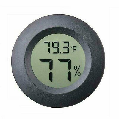 Digital Cigar Humidor Hygrometer Thermometer Temperature Round Black Gauge New Cigars