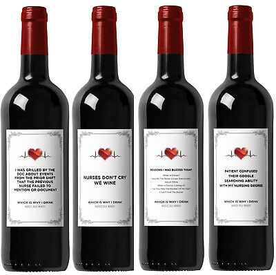 Gifts For Nursing Graduates (Funny Wine Labels for Nurses - Great Gift for Graduation - Includes All 4)