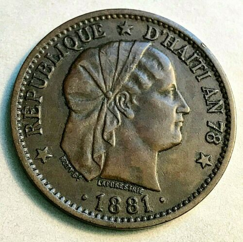 1881 Haiti 2 Centavos Sharp Brown AU/Unc. Beauty CHN