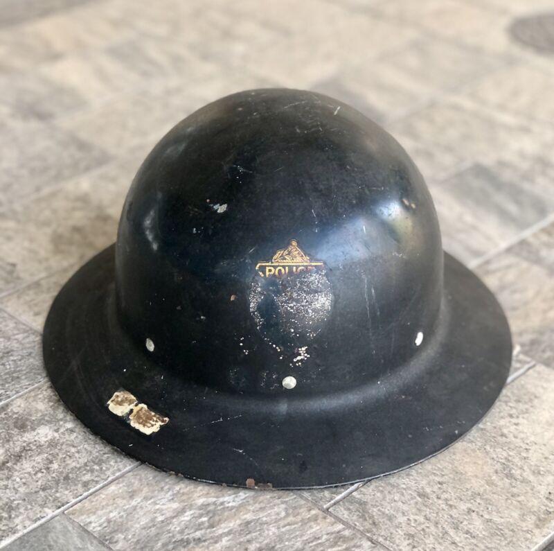 Vintage Police Chief Black Metal Helmet Hat w/ Liner