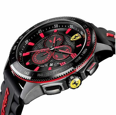 Mens Scuderia Ferrari 830138 Chronograph Black Red Silicone Sport Car Watch