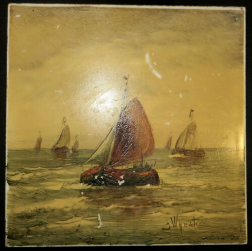 genuine antique J Wynstra 1880 PAINTING on TILE Germany Fishing Boat Handpainted