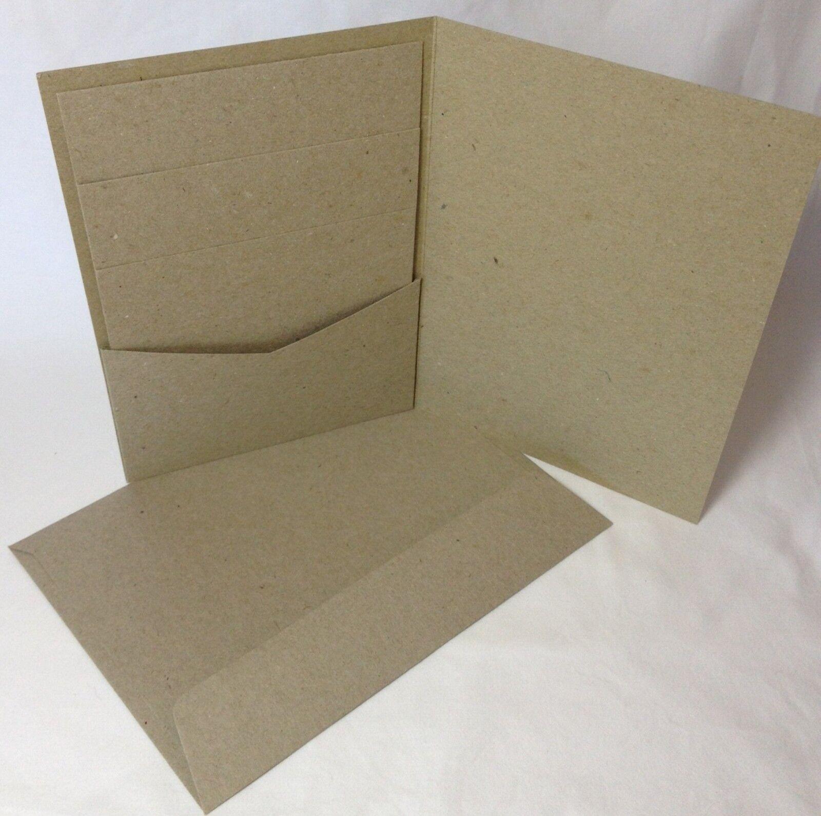 Pocket Invitation Cards Kraft Brown 20