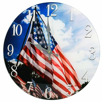 Glass Wall Clock American Flag 13