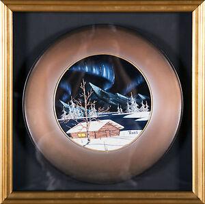 Bob Ross Authentic Original Oil Pan Painting Alaska Cabin Mountain Scenes