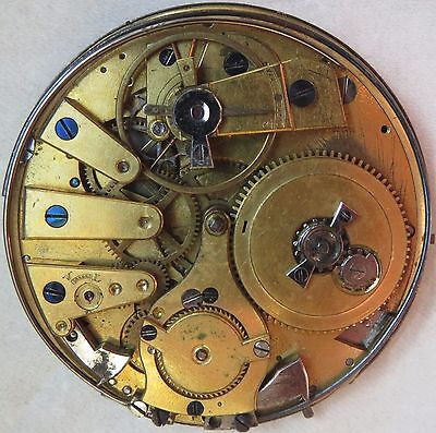 (Repeater Key Wind Pocket Watch movement & dial 50 mm. in diameter to restore)