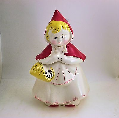 LITTLE RED RIDING HOOD w/ RED SHOES COOKIE JAR - SHIPS FREE (Red Riding Hood Shoes)