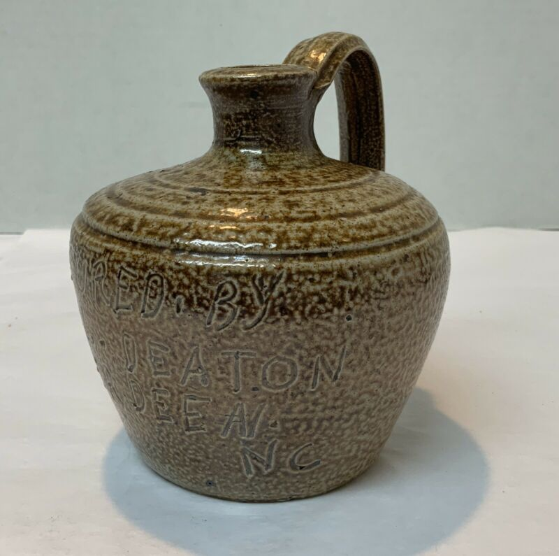 """Antique Captured By Keel Deaton Aberdeen, NC Marked Log Cabin Pottery Jug 5"""""""