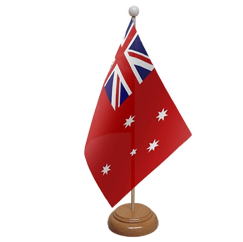 """AUSTRALIA RED ENSIGN TABLE FLAG 9""""X6"""" WITH WOODEN BASE FLAGS AUSTRALIAN"""